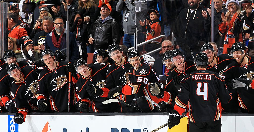 ANAHEIM, CA - NOVEMBER 22: Cam Fowler #4 of the Anaheim Ducks celebrates his shootout goal with his teammates during the game against the New York Islanders on November 22, 2016 at Honda Center in Anaheim, California. (Photo by Debora Robinson/NHLI via Getty Images)