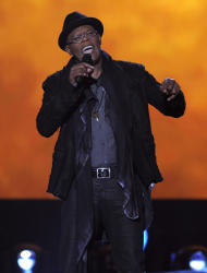 Host Samuel L. Jackson speaks on stage at Spike's 10th Annual Video Game Awards at Sony Studios on Friday, Dec. 7, 2012, in Culver City, Calif. (Photo by Chris Pizzello/Invision/AP)