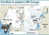 Map of eastern Democratic Republic of Congo locating Kibati, Goma and Bukavu. Regional leaders have called on DR Congo rebel group M23 to end hostilities and leave a key eastern town they seized in a rampant advance that has sparked fears of a wider conflict.
