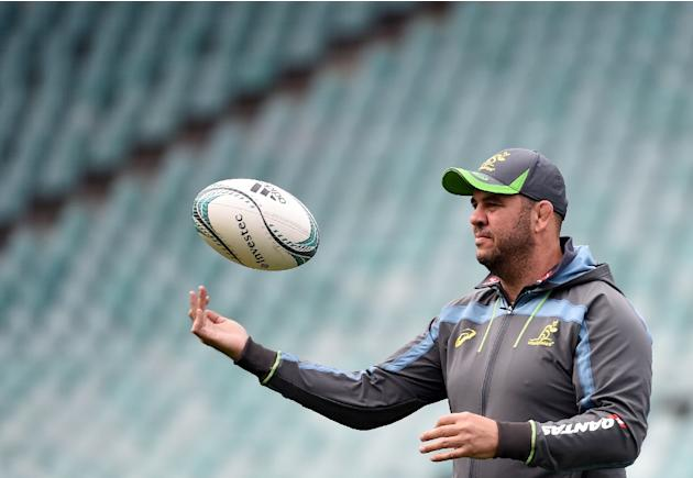 Australia rugby coach Michael Cheika pictured at the team's final training session in Sydney on August 23, 2016, ahead of their second Test of the Bledisloe Cup against New Zealand