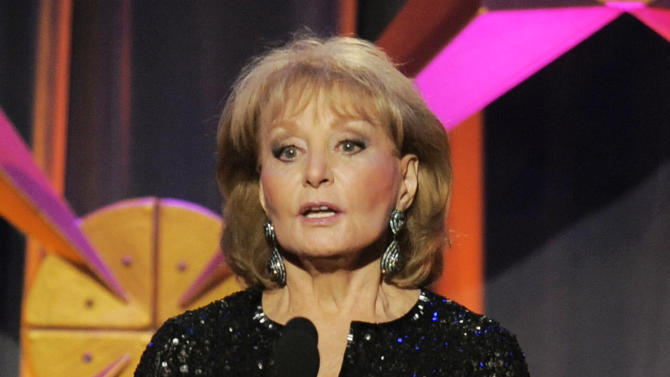 "FILE - This June 23, 2012 file photo shows Barbara Walters presenting an award onstage at the 39th Annual Daytime Emmy Awards in Beverly Hills, Calif. Walters, who has been battling the Chicken Pox, will not return to her daytime talk show ""The View,"" for three more weeks. She was hospitalized on Jan. 19 after fainting and cutting her head at a pre-inaugural party in Washington.  (Photo by Chris Pizzello/Invision/AP, file)"