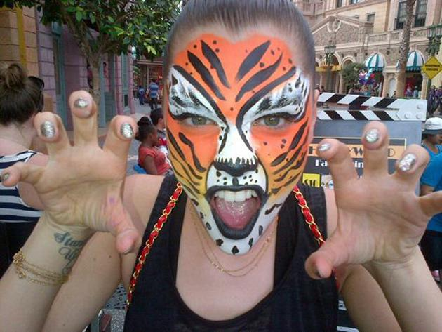 Celebrity photos: Jessie J seems to have a mild obsession with tigers at the moment, donning the print all the time. However, she went one step further this week by having her face painted and posting