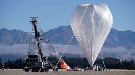 NASA's Super Pressure Balloon stands fully inflated and ready for lift-off from Wanaka Airport, New Zealand