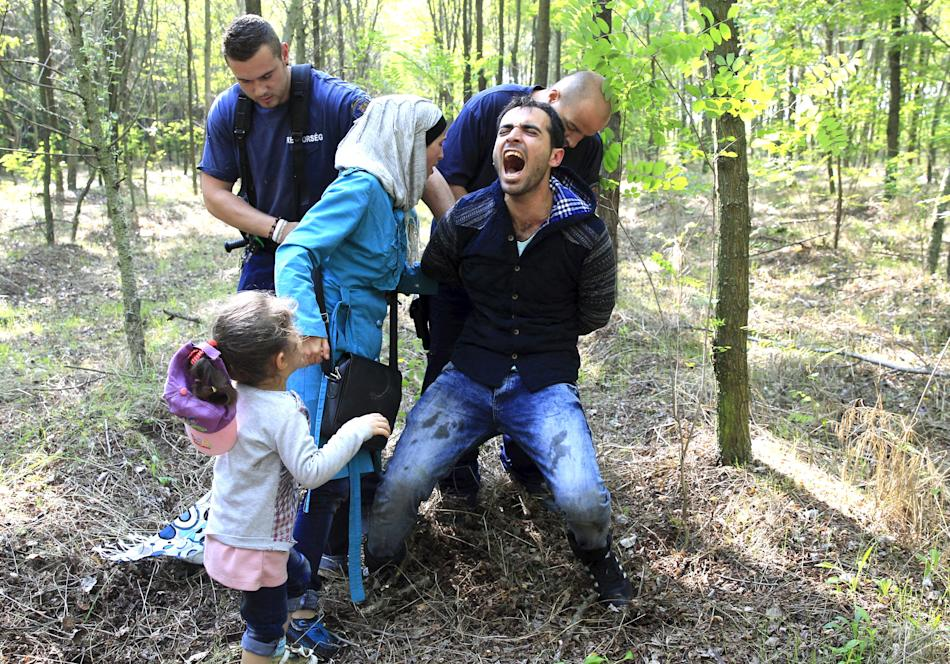 Hungarian policemen detain a Syrian migrant family after they entered Hungary at the border with Serbia, near Roszke