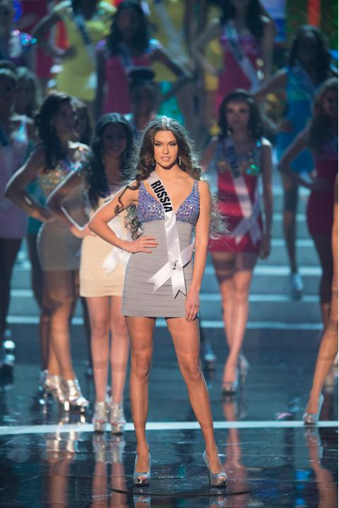 Miss Universe Russia 2012, Elizabeth Golovanova is announced as one of the top sixteen contestants in her Sherri Hill dress and Chinese Laundry shoes during this year's LIVE NBC Telecast of the 2012 M