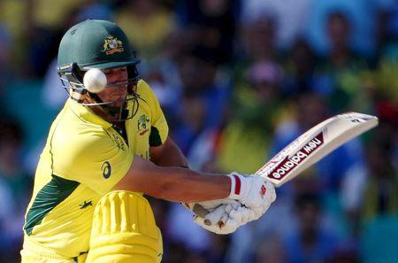 The ball rebounds off the pad of Australia's batsman Aaron Finch, which was unsuccessfully appealed by India as LBW, during their Cricket World Cup semi-final match in Sydney