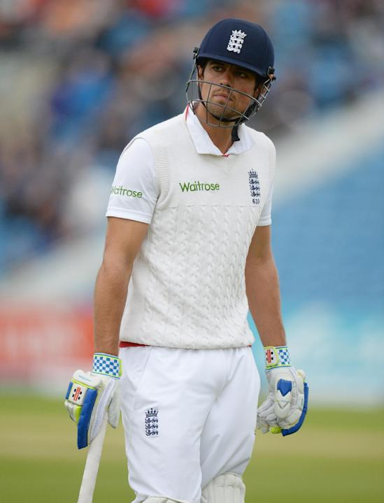 CRIC: England's Alastair Cook leaves the field looking dejected after being dismissed