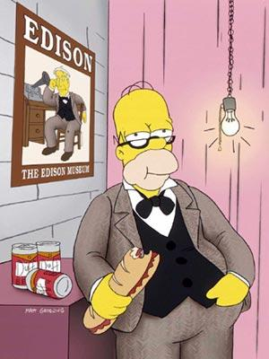 Homer (voiced by Dan Castellaneta) emulates Thomas Edison in the episode 'The Wizard of Evergreen Terrace.' Fox's The Simpsons