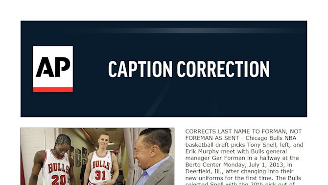 CORRECTION Bulls Changes Basketball