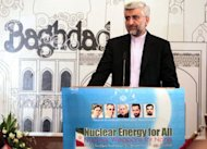 Iran's chief nuclear negotiator, Saeed Jalili, speaks during a press conference in Baghdad following two days of talks between the P5+1 group of world powers and Iran