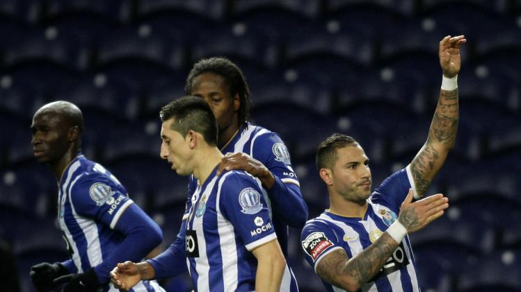 Porto's Quaresma celebrates his goal against Pazos de Ferreira with his teammates during their Portuguese Premier League soccer match at Dragao stadium in Porto
