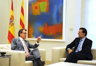 "Spanish Prime Minister Mariano Rajoy (right) listens to Catalonia's regional president Artur Mas during their meeting at the Moncloa palace in Madrid on September 20. Rajoy said there was ""no margin"" for negotiations on letting the region raise and spend its own taxes."