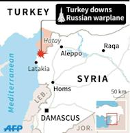 Map of Syria and southern Turkey locating downng of Russian warplane in border region (45 x 46 mm)