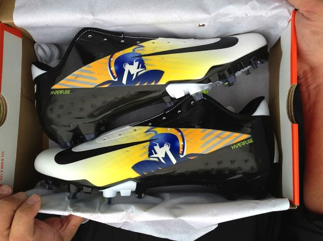 The customized Nike hyperfuse cleats that Aloha will wear in the Oregon state playoffs — The Oregonian