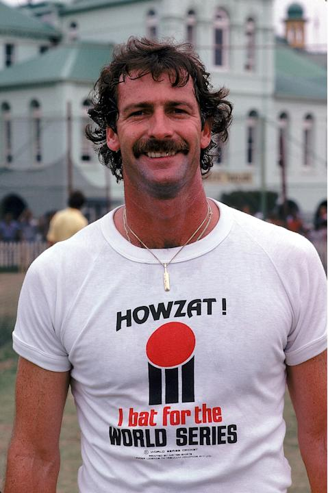 Dennis Lillee of Australia poses for the camera wearing a World Series Cricket T-shirt