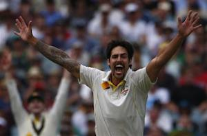 Australia's Mitchell Johnson appeals for a successful wicket of England's Stuart Broad during the second day of the fourth Ashes cricket test at the Melbourne cricket ground December 27, 2013. REUTERS/David Gray