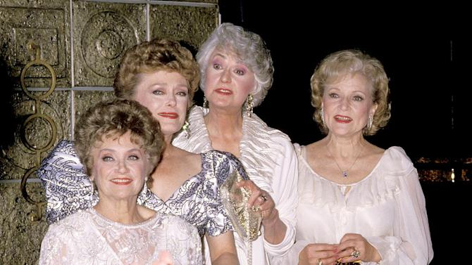 """Estelle Getty, Rue McClanahan, Bea Arthur and Betty White at the """"The Golden Girls"""" 100th Episode Celebration in Los Angeles, California on April 8, 1989."""