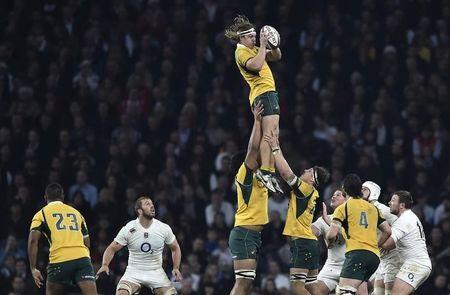 Australia's Hooper takes the lineout ball during their international rugby test match against England at Twickenham Stadium in London