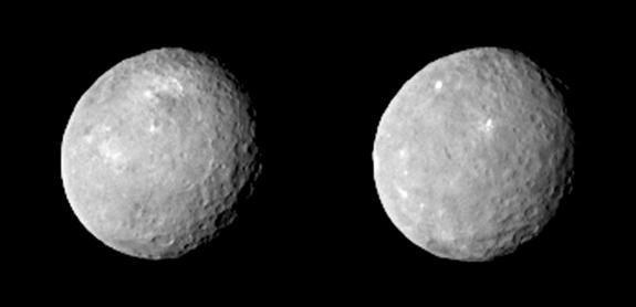 Two photos of the dwarf planet Ceres taken by NASA's Dawn spacecraft on Feb. 12, 2015, from a distance of about 52,000 miles (83,000 kilometers). The images have been magnified from their original size.