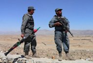 Afghan National Police on patrol last month on the outskirts of the city of Jalalabad. A roadside bomb killed five Afghan policemen, including a district police chief, when it ripped through their vehicle in a volatile part of southern Afghanistan, provincial authorities said Friday
