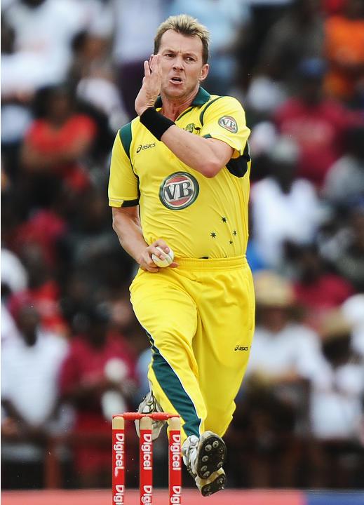 Australian cricketer Brett Lee delivers