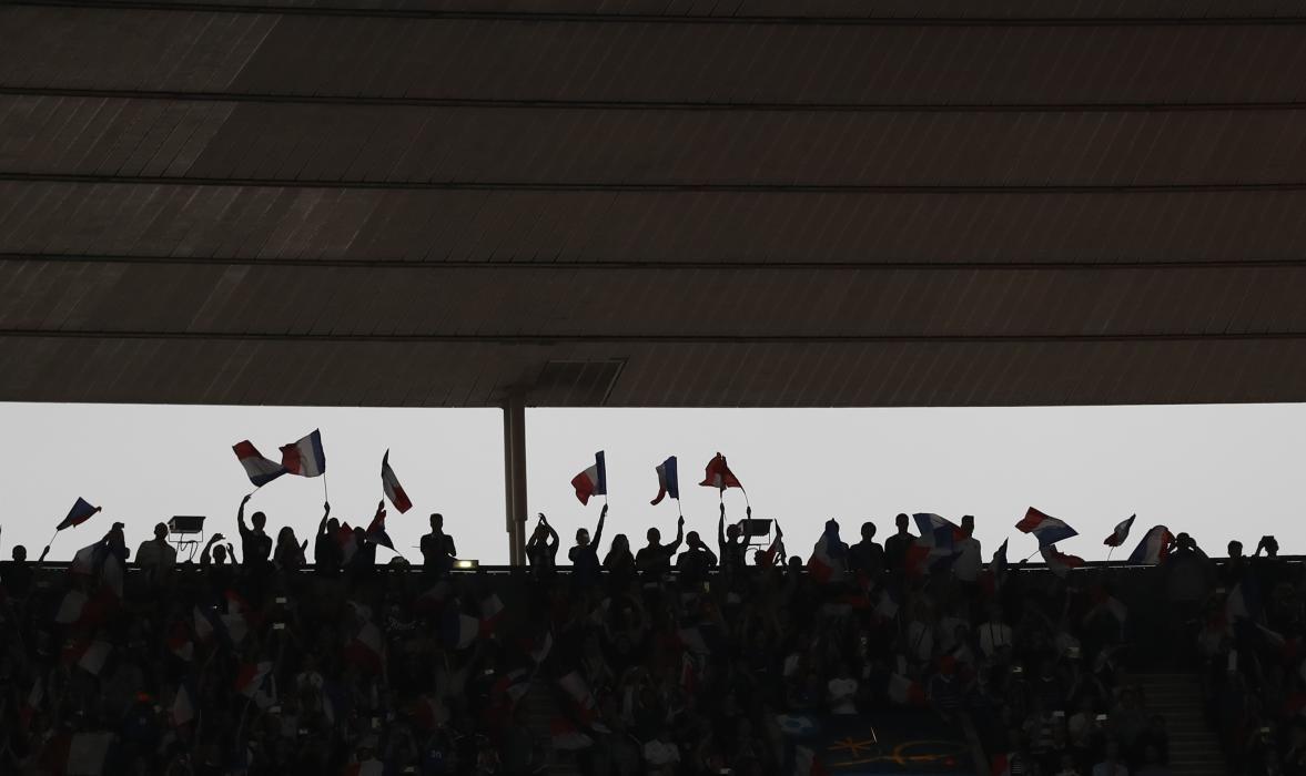 General view of fans during the match
