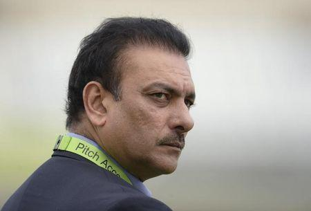 India's Shastri looks on before the third one-day international cricket match against England at Trent Bridge cricket ground, Nottingham