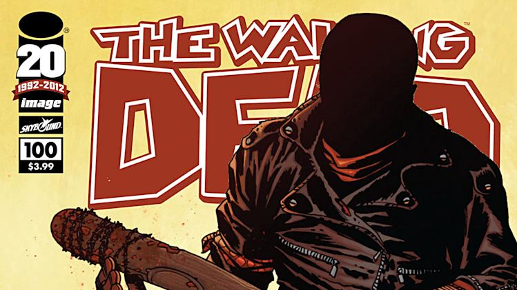 "This comic book cover image released by Image Comics shows issue 100 from The Walking Dead series, ""Something to Fear.""  The issue claims the top spot as 2012's top-selling comic book. (AP Photo/Image Comics)"