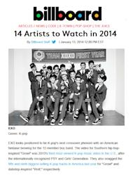 Billboard chose EXO as one of the '14 Artists to Watch in 2014'