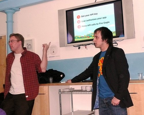 Seth and Steve explaining the one-two-three of building applications for Fire Eagle