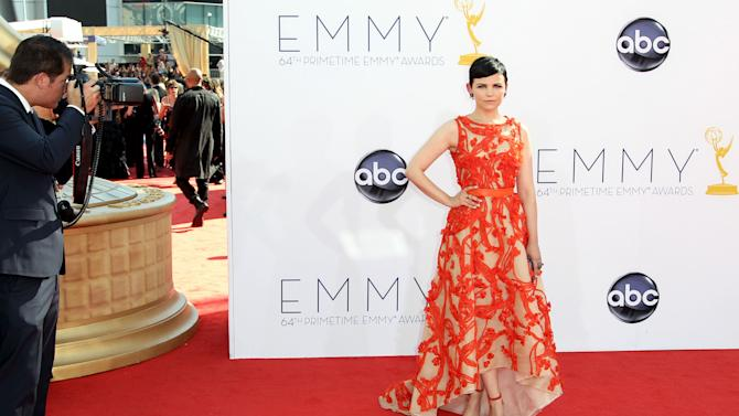 Actress Ginnifer Goodwin arrives at the 64th Primetime Emmy Awards at the Nokia Theatre on Sunday, Sept. 23, 2012, in Los Angeles. (Photo by Matt Sayles/Invision/AP)