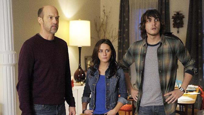 """FILE - This undated file photo provided by ABC shows Anthony Edwards, left, Addison Timlin and Scott Michael Foster in a scene from """"Zero Hour."""" Edwards plays Hank Galliston, a magazine publisher who descends into an historical mystery after his wife is kidnapped. The first of 13 filmed episodes reached 6.4 million people and did particularly poorly among the youthful demographic ABC targets. The second episode was down to 5.39 million viewers, the third 5.05 million, and then ABC pulled the plug. (AP Photo/ABC, Phillippe Bosse, File)"""