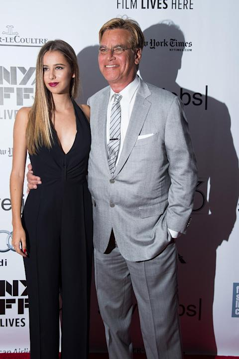 """Aaron Sorkin and daughter Roxy Sorkin, left, attend the New York Film Festival gala presentation of """"Steve Jobs"""" at Alice Tully Hall on Saturday, Oct. 3, 2015, in New York. (Photo by Charles"""