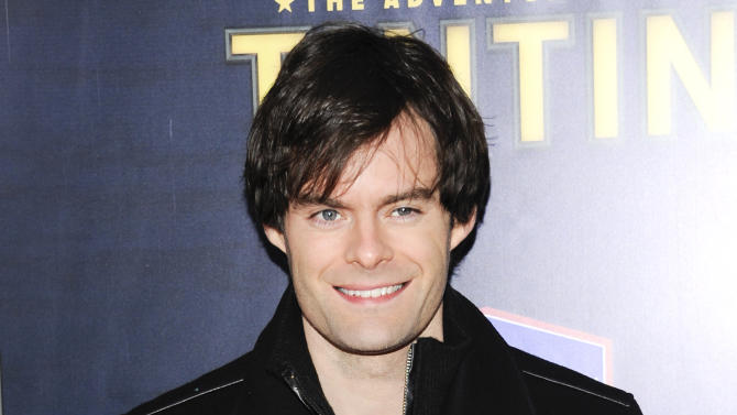 """FILE - This Dec. 11, 2011 file photo shows actor Bill Hader attends the premiere of """"The Adventures of Tintin""""  in New York. Hader is leaving """"Saturday Night Live"""" after an eight-year run. His spokesman confirms the 34-year-old comedian will depart """"SNL"""" after this weekend's season finale. (AP Photo/Evan Agostini, file)"""