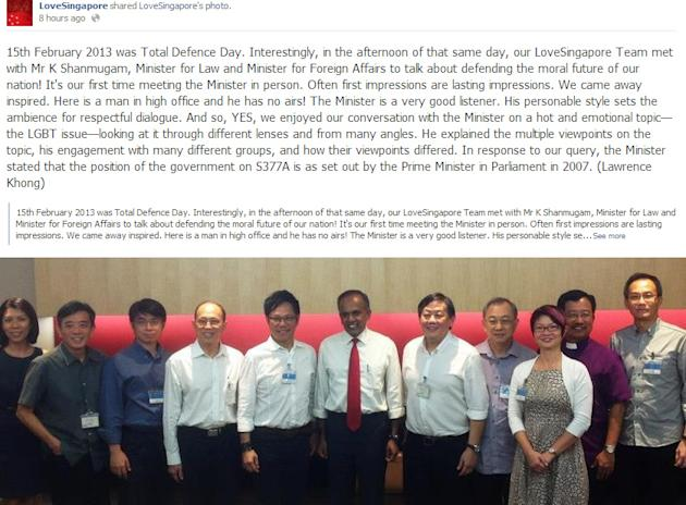 Members of the LoveSingapore christian church network met Law and Foreign Affairs Minister K Shanmugam last Friday to discuss the issues surroundign Section 377A. (Screengrab from LoveSingapore Facebook page)