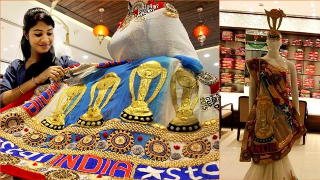 Every Indian must see this 'WORLD CUP SAREE' worth 65,000