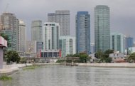 This file photo shows Manila's financial district, pictured in June. The Philippines says its economy expanded a better-than-expected 7.1 percent year on year in the three-months to September on the back of a robust services sector