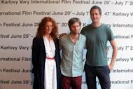 """(From L) Norwegian actress Janne Heitberg Haarseth, director Martin Lund and actor Henrik Rafaelsen pose on June 30 before their film """"The Almost Man.'' The film won the 47th edition of the Czech Republic's Karlovy Vary international film festival on Saturday, the organisers said"""