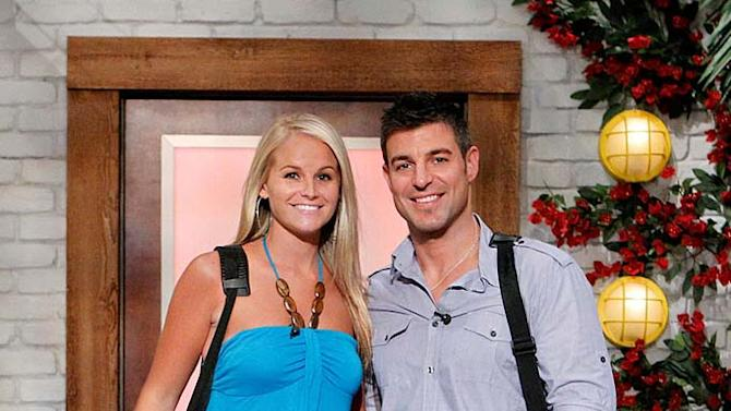"""Jeff and Jordan pose for a photo prior to moving in to the """"Big Brother"""" House."""