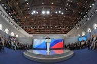 Russia's President Vladimir Putin speaks at a congress of the ruling United Russia party in Moscow. Russia's ruling party on Saturday confirmed today Prime Minister Dmitry Medvedev as its new chief in a bid to reverse flagging popularity that stoked opposition protests against the Kremlin