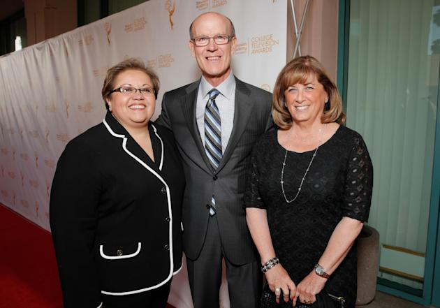 Academy foundation board members Norma Provencio Pichardo and from left, Jerry Petry and Susan Nessanbaum-Goldbert arrive at the 35th College Television Awards, presented by the Television Academy Fou