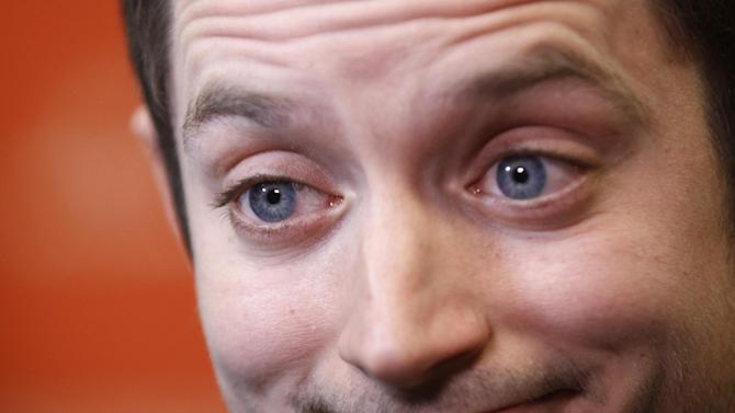 FILE - In this Friday, Jan. 20, 2012 file photo, actor Elijah Wood is interviewed at the 2012 Sundance Film Festival in Park City, Utah. New Zealand has banned a horror film starring Elijah Wood as a scalp-collecting serial killer because it's too graphic and disturbing for the public. (AP Photo/Danny Moloshok)