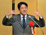 Japan's Prime Minister, Shinzo Abe, pictured during a gathering in Tokyo, on January 7, 2013. Abe will visit three Southeast Asian countries next week, the government said on Thursday, after abandoning a plan to make Washington the first destination of his term