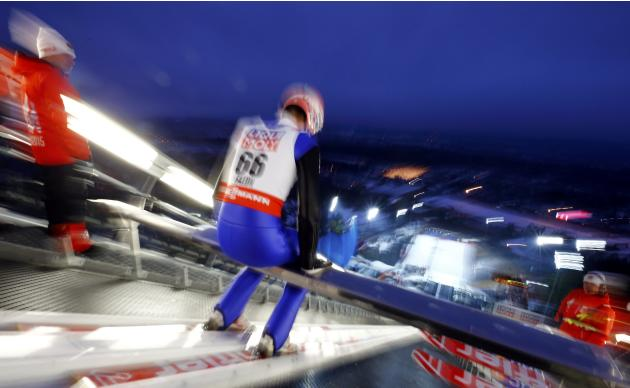 Neumayer of Germany prepares for a training jump in the men's large hill team ski jumping event at the Nordic World Ski Championships in Falun