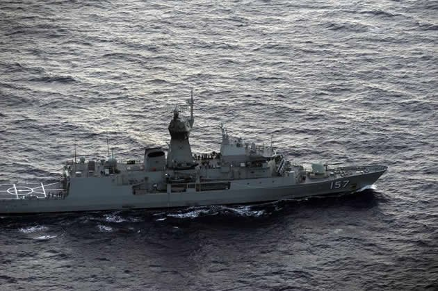 Australia's HMAS Perth during the search for missing Malaysia Airlines flight on 13 April 2014. (AFP photo)