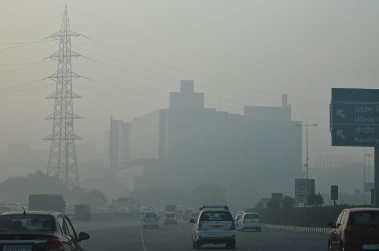 GURGAON, INDIA - DECEMBER 8: Cyber city in office hub witnesses a low visibility due to air pollution on December 8, 2015 in Gurgoan, India. (Photo by Priyanka Parashar/Mint via Getty Images)