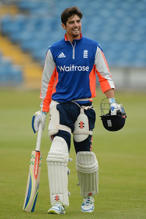 Cricket: England's Alastair Cook during training