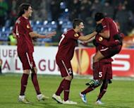 Rubin Kazan players celebrate after scoring a goal against Shamrock Rovers during their UEFA Europa League football match in Kazan in November 2011. The two-time Russian champions have won their second national Super Cup beating reigning champions Zenit St Petersburg 2-0 at Samara
