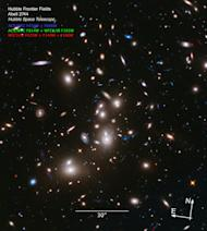 This long-exposure Hubble Space Telescope image of massive galaxy cluster Abell 2744 is the deepest ever made of any cluster of galaxies. It shows some of the faintest and youngest galaxies ever detected in space. Abell 2744, located in the con