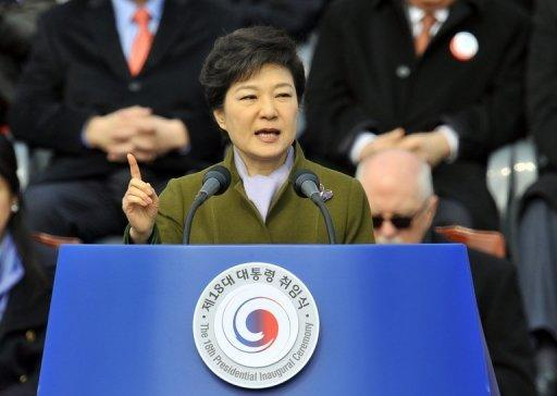 Park Geun-Hye speaks during her presidential inauguration ceremony in Seoul on February 25, 2013. She was sworn in as South Korea's first female president, vowing zero tolerance with provocations from a nuclearised North Korea and a new era of economic prosperity for all.